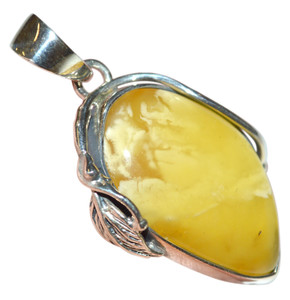 7.25g Authentic Baltic Egg Yolk Amber 925 Silver Pendant Jewelry (mila) AH260