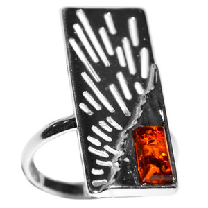 3.9g Authentic Baltic Amber 925 Sterling Silver Ring Jewelry s.7 A7164S7