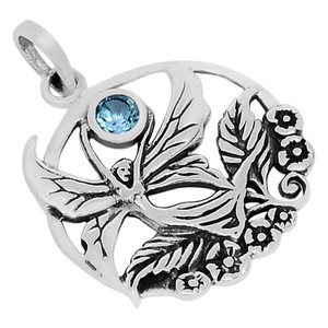 Blue Topaz 925 Sterling Silver Pendant Jewelry P1448B