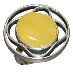 12.4g Authentic Baltic Egg Yolk Amber 925 Silver Ring Jewelry(mila) s.8 AH348