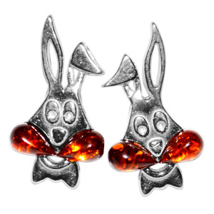 1.76g Rabbit Authentic Baltic Amber 925 Sterling Silver Earrings Jewelry A8484