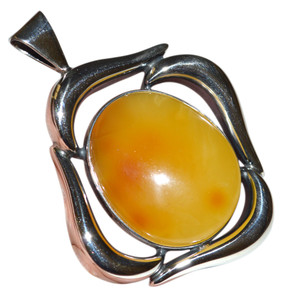22.4g Authentic Baltic Egg Yolk Amber 925 Silver Pendant Jewelry (mila) AH329