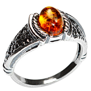 4.0g Authentic Baltic Amber 925 Sterling Silver Ring Jewelry s.6 A7438S6