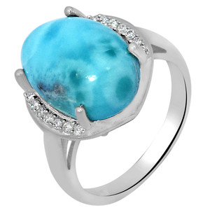 7cts Larimar (Dominican Republic) & Cubic Zirconia 925 Silver Ring s.6 LMRR5-6