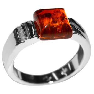 4.37g Authentic Baltic Amber 925 Sterling Silver Ring Jewelry s.6 A7149S6