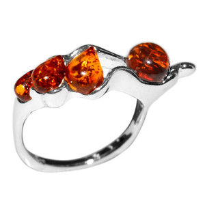 3.2g Authentic Baltic Amber 925 Sterling Silver Ring Jewelry s.5 A7242S5