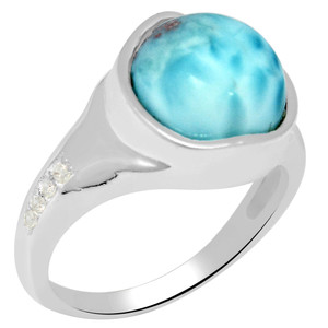 5.1cts Larimar (Dominican Republic) & Cubic Zirconia 925 Silver Ring s.7 LMRR6-7