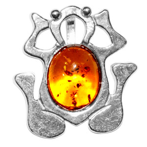 3.14g Frog Authentic Baltic Amber 925 Sterling Silver Pendant Jewelry A701