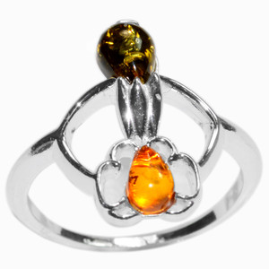 3.2g Authentic Baltic Amber 925 Sterling Silver Ring Jewelry s.5 A7534S5