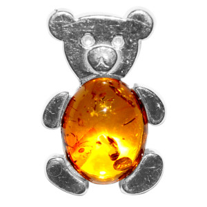 1.96g Bear Authentic Baltic Amber 925 Sterling Silver Pendant Jewelry A698