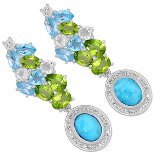 LMRE13 5.5cts Larimar (Dominican Republic) & Cubic Zirconia 925 Silver Earrings