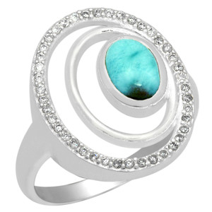 1cts Larimar (Dominican Republic) & Cubic Zirconia 925 Silver Ring s.6 LMRR9-6