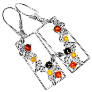 6.9g Authentic Baltic Amber 925 Sterling Silver Earrings Jewelry A8147