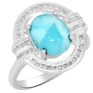 3.5cts Larimar (Dominican Republic) & Cubic Zirconia 925 Silver Ring s.8 LMRR4-8