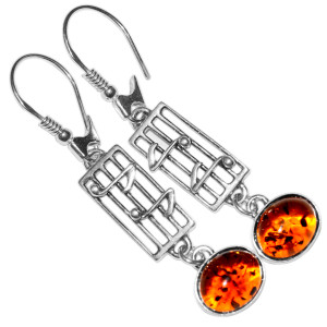 4.7g Authentic Baltic Amber 925 Sterling Silver Earrings Jewelry A8359