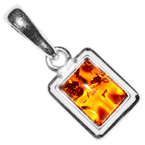 1.36g Authentic Baltic Amber 925 Sterling Silver Pendant Jewelry A1948