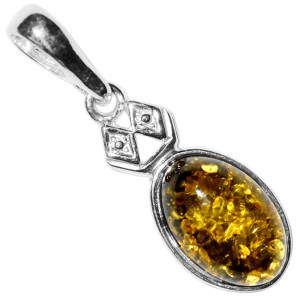 1.43g Authentic Baltic Amber 925 Sterling Silver Pendant Jewelry A1954B