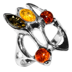 4.4g Authentic Baltic Amber 925 Sterling Silver Ring Jewelry s.6 A7361S6