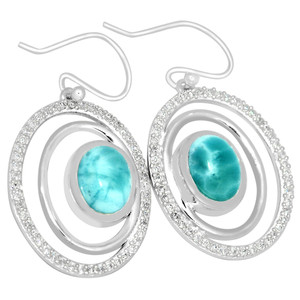 4.4cts Larimar (Dominican Republic) & Cubic Zirconia 925 Silver Earrings LMRE9