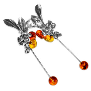 7.12g Authentic Baltic Amber 925 Sterling Silver Earrings Jewelry A5960