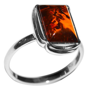 3.35g Authentic Baltic Amber 925 Sterling Silver Ring Jewelry s.5 A7091S5