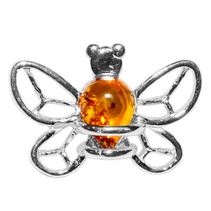 1.1g Bee Authentic Baltic Amber 925 Sterling Silver Pendant Jewelry A666