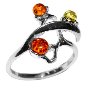 2.6g Authentic Baltic Amber 925 Sterling Silver Ring Jewelry s.5 A7382S5