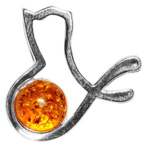 1.93g Bird Authentic Baltic Amber 925 Sterling Silver Pendant Jewelry A673