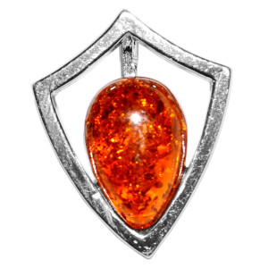 1.74g Shield Authentic Baltic Amber 925 Sterling Silver Pendant Jewelry A674