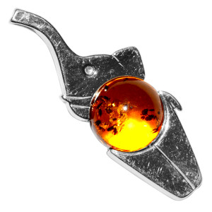 2.2g Elephant Authentic Baltic Amber 925 Sterling Silver Pendant Jewelry A677