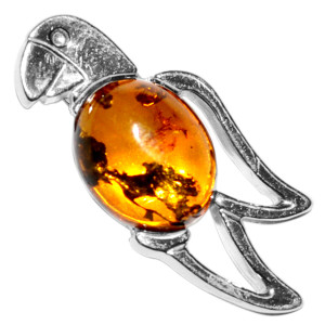 1.7g Parrot Authentic Baltic Amber 925 Sterling Silver Pendant Jewelry A679