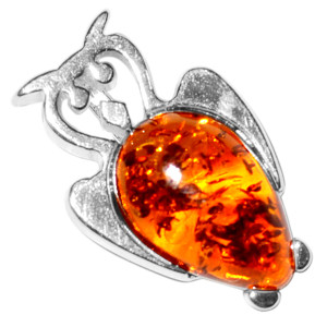 1.44g Owl Authentic Baltic Amber 925 Sterling Silver Pendant Jewelry A680