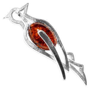 3.15g WoodPecker Authentic Baltic Amber 925 Sterling Silver Pendant Jewelry A686