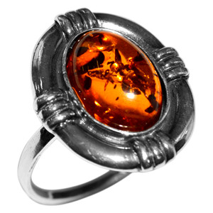 5.82g Authentic Baltic Amber 925 Sterling Silver Ring Jewelry s.8 A7143S8