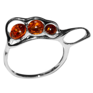 2.3g Authentic Baltic Amber 925 Sterling Silver Ring Jewelry s.6 A7413S6