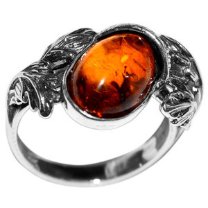 3.93g Authentic Baltic Amber 925 Sterling Silver Ring Jewelry s.5 A7147S5