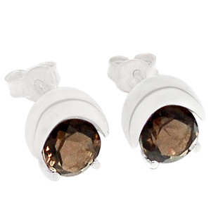 Smokey Quartz 925 Sterling Silver Earrings Jewelry E2210S