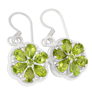 Peridot 925 Sterling Silver Earrings Jewelry E2298P