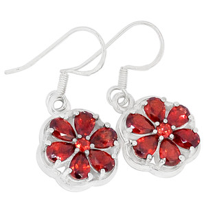Garnet 925 Sterling Silver Earrings Jewelry E2298G