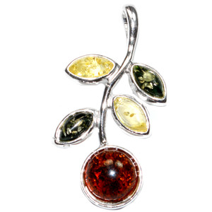 3.7g Authentic Baltic Amber 925 Sterling Silver Pendant Jewelry A1737