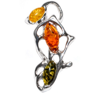 5.1g Authentic Baltic Amber 925 Sterling Silver Pendant Jewelry A320