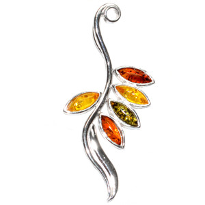 2.5g Authentic Baltic Amber 925 Sterling Silver Pendant Jewelry A344
