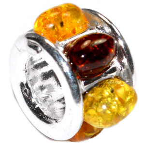 2.6g Authentic Baltic Amber 925 Sterling Silver Charm Jewelry A484