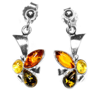 3.6g Authentic Baltic Amber 925 Sterling Silver Earrings Jewelry A5891