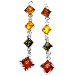 9g Authentic Baltic Amber 925 Sterling Silver Earrings Jewelry A5924