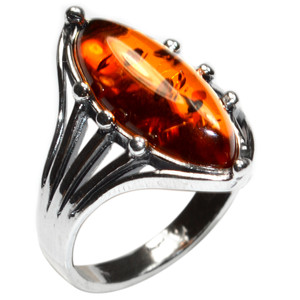 3.5g Authentic Baltic Amber 925 Sterling Silver Ring Jewelry s.6 A7107S6