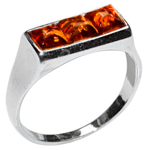 2.3g Authentic Baltic Amber 925 Sterling Silver Ring Jewelry s.8 A7186S8