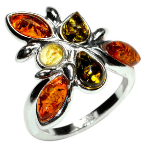 4.6g Authentic Baltic Amber 925 Sterling Silver Ring Jewelry s.4.5 A7240S45