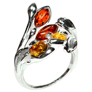 6.1g Authentic Baltic Amber 925 Sterling Silver Ring Jewelry s.7.5 A7243S75