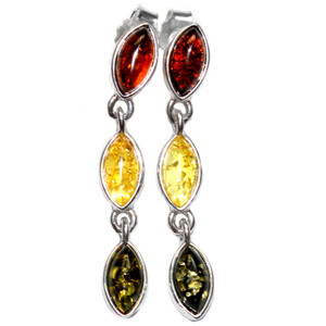 4.1g Authentic Baltic Amber 925 Sterling Silver Earrings Jewelry A8162